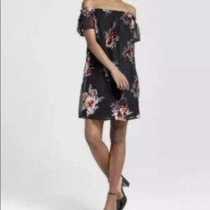 Xhilaration black off shoulder floral mini